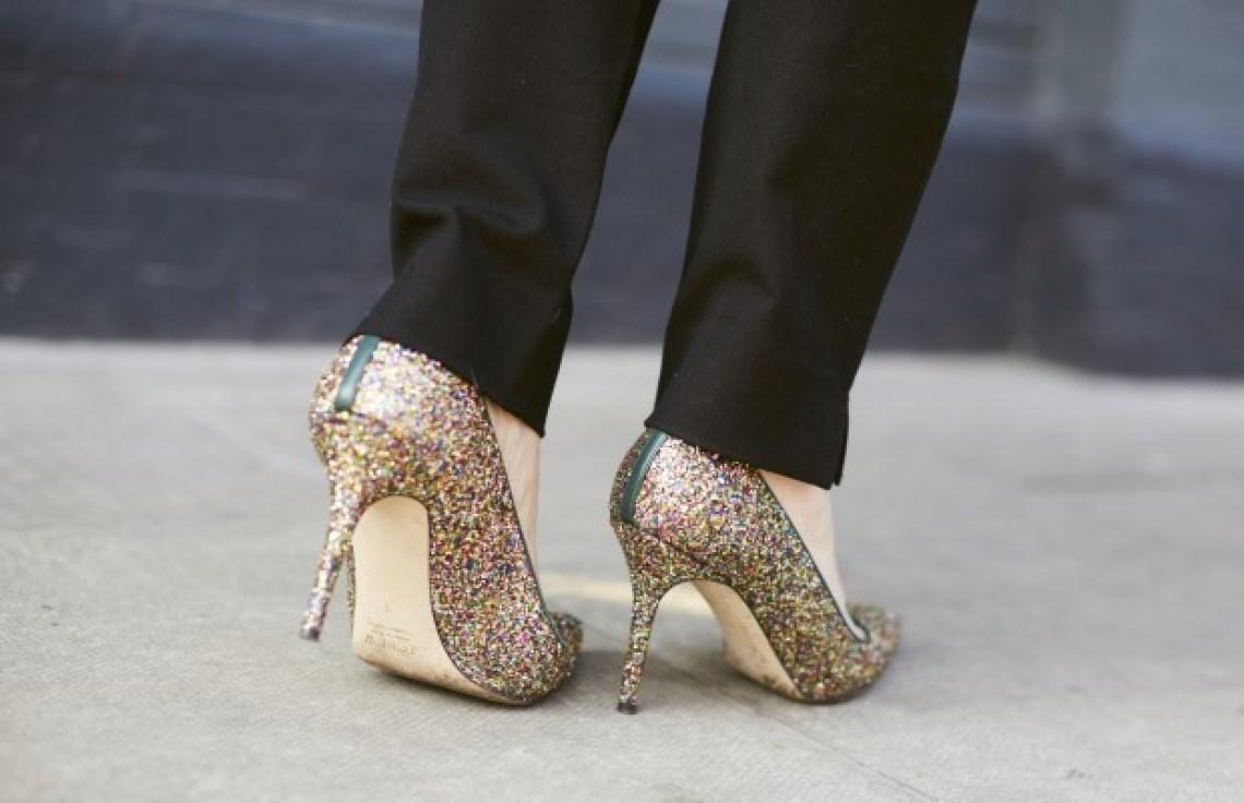 J Crew gold glitter heels