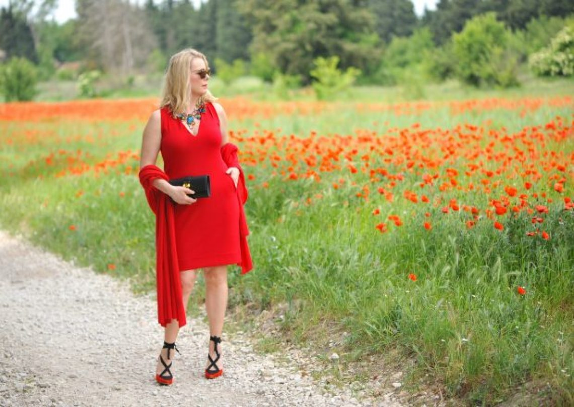 red outfit in poppies