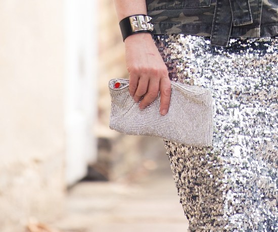 camouflage, sequins, studs, and crystals