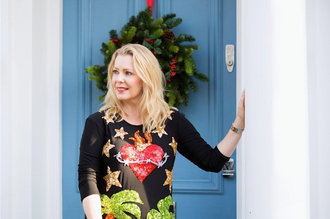 sequinist front door party dress