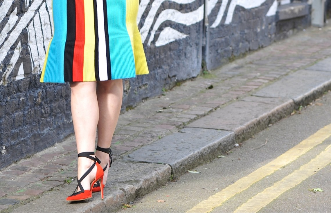 JW Anderson skirt with stripes Kurt Geiger shoes