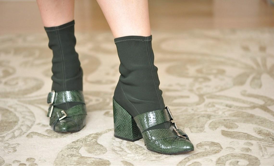 Finery green lizard print boots