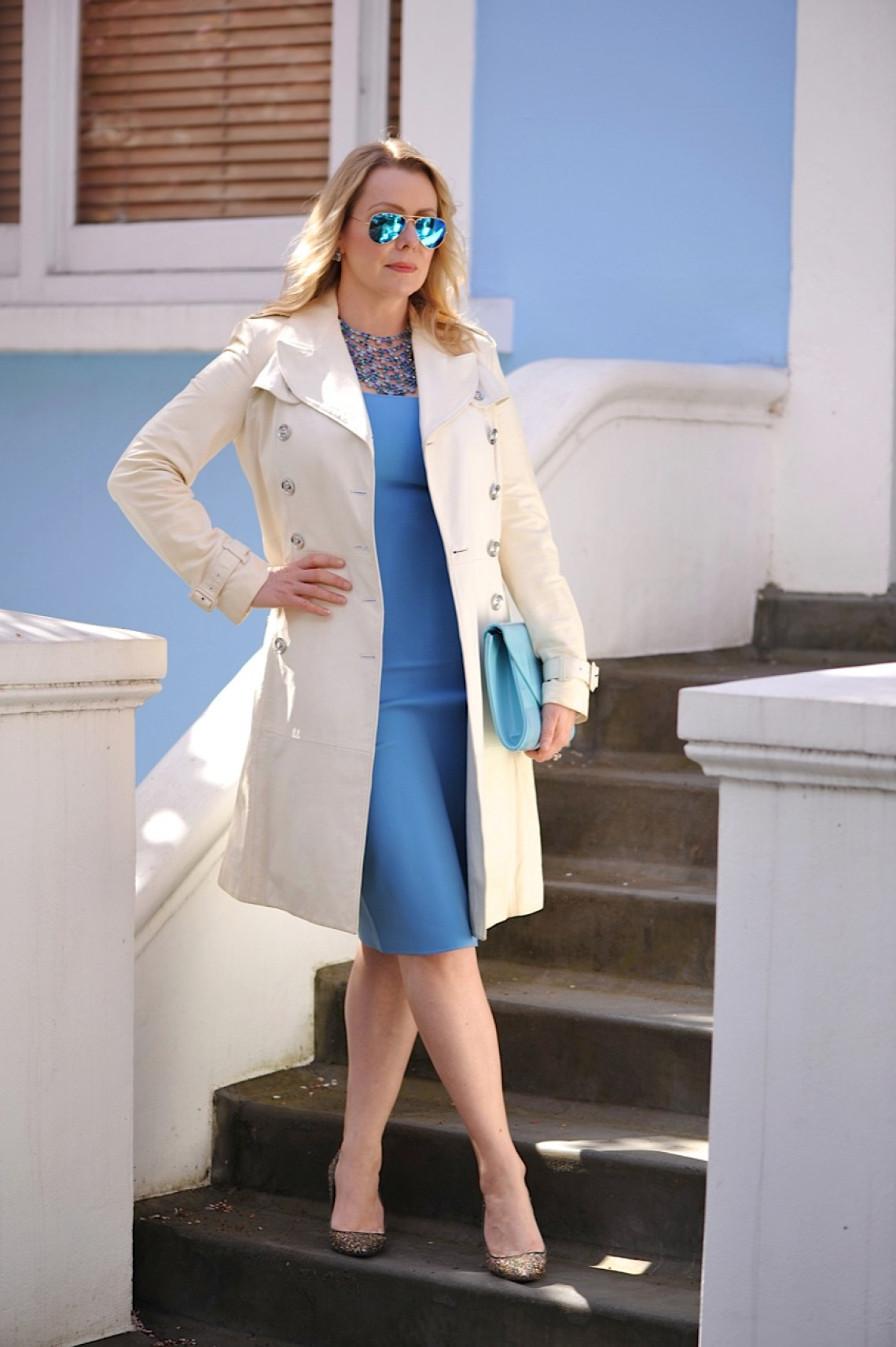 Sky blue dress and white coat