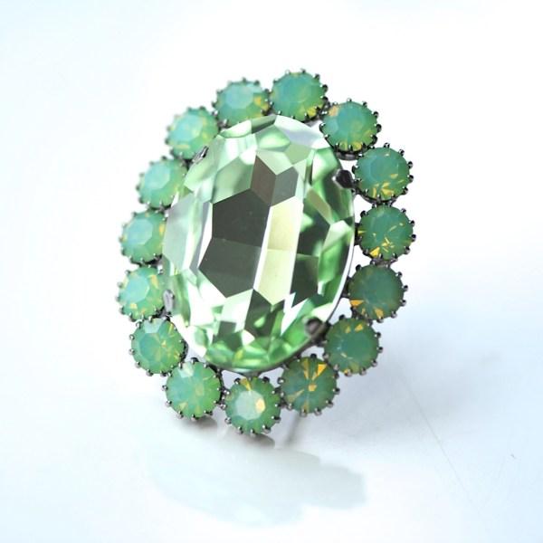 Peridot Green Halo Ring