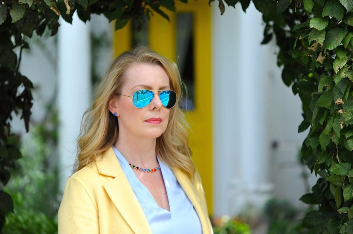 blue sunglasses, statement necklace