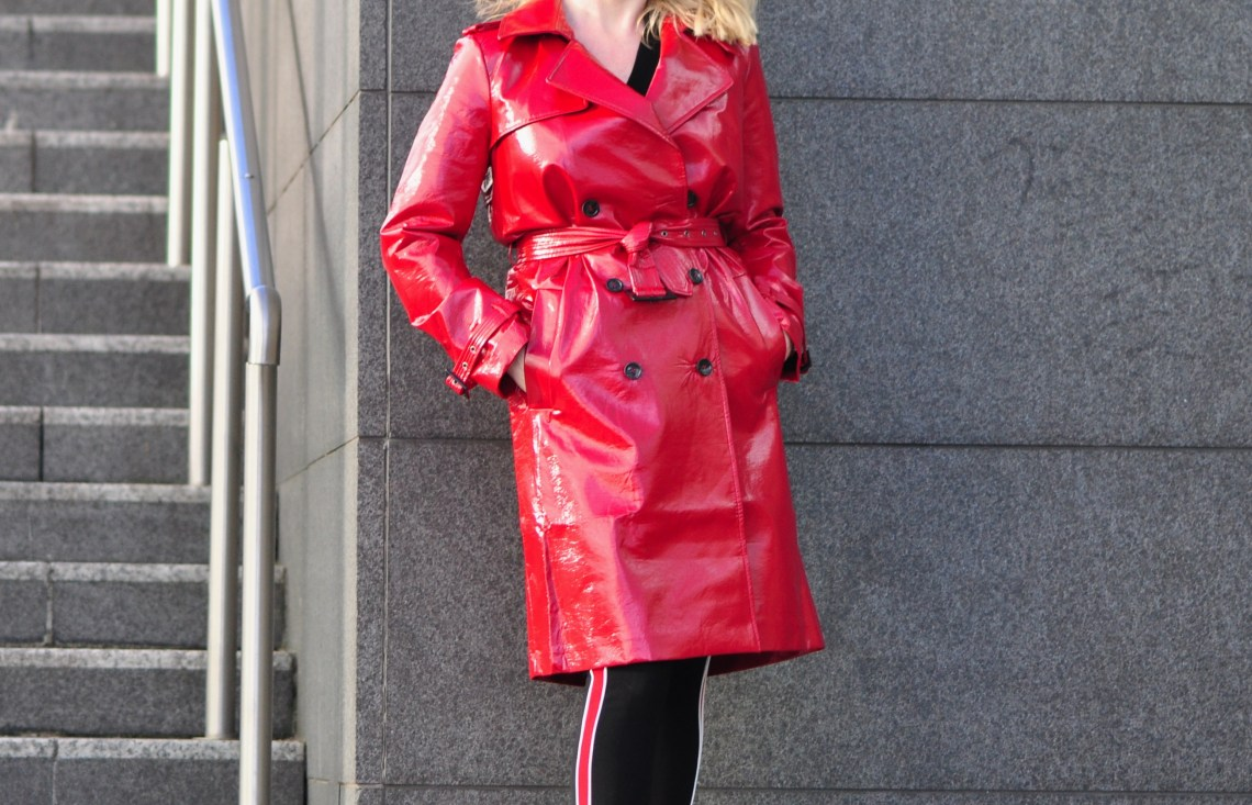 ASOS red vinyl trench