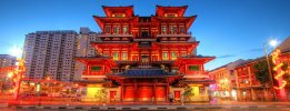 Singapore's Buddha Tooth Relic Temple is a popular tourist attraction in Chinatown.