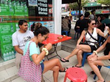 Eating cendol and drinking coconut juice