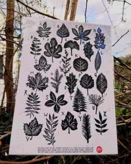 A to Z of Leaves Woodcut Print