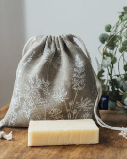 natural linen soap bag