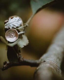 rose gold silver acorn oak leaf ring