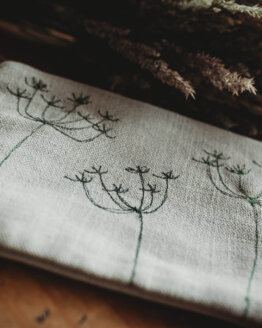 cow parsley green linen pouch