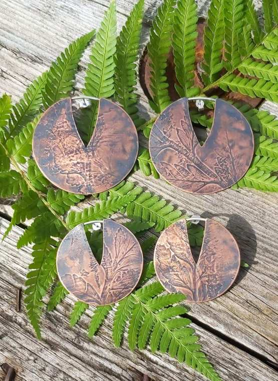 fern imprint circle earrings
