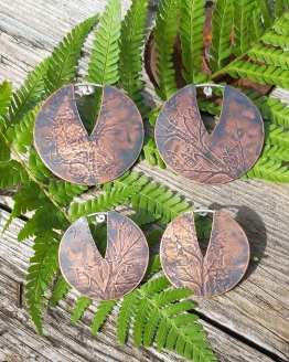 fern imprint circle earrings