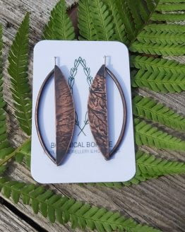 fern imprint leaf drop earrings
