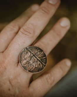 fern leaf ring on hand