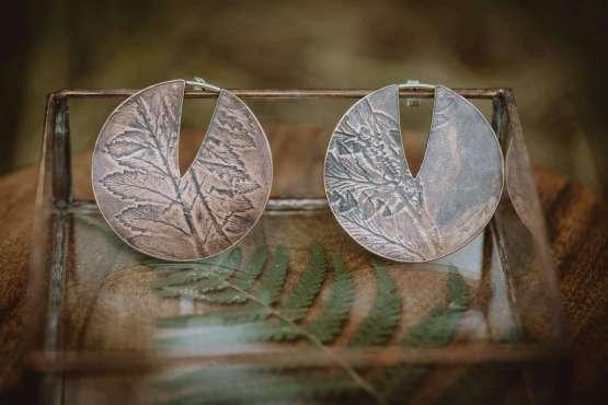 fern small circle earrings