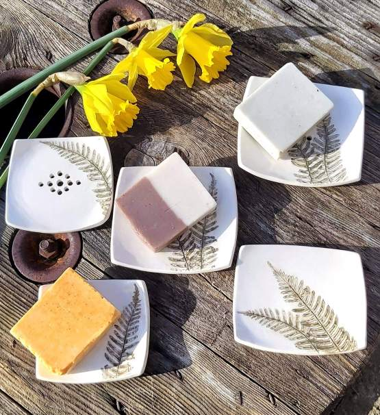 fern ceramic soap dishes group