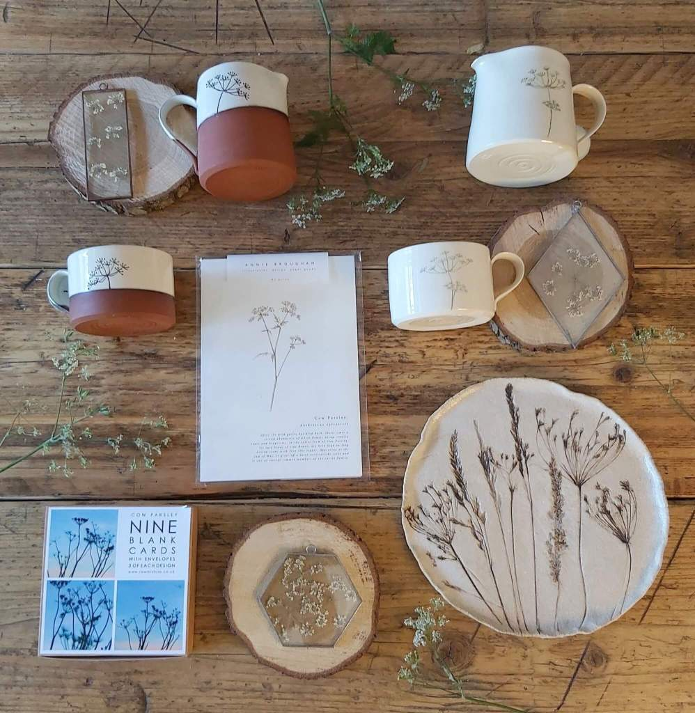 Ceramics laid out flat on the table