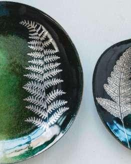 green fern leaf dishes detail