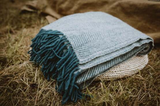 inky blue wool blanket