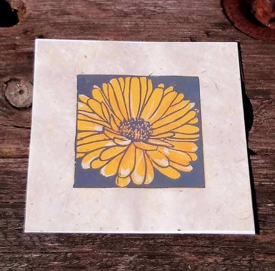 marigold lino print
