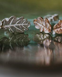 mini oak leaf stud earrings