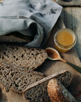 bee print linen bread bag
