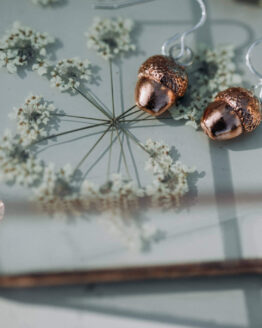 new half acorn copper earrings in tray