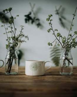 Wendy Calder white green mugs