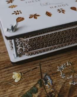 wooden flower press side on shot