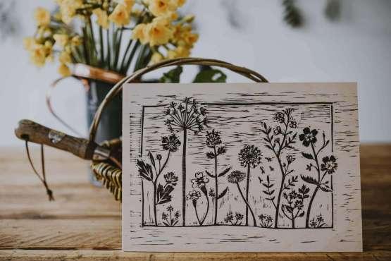 wooden wildflower meadow print