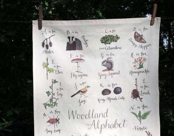 woodland tea towel close up