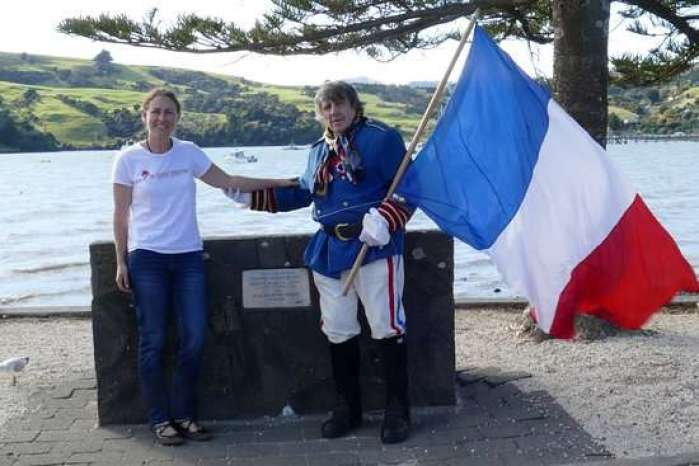 French descendants in Akaroa with the French flag