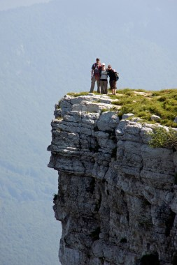 Me, Valerie and Wanda standing on the edge of the Creux du Van in Switzerland (photo courtesy of Marc Schmid).