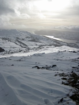 Lake Windermere from the slopes of a snowy Red Screes.