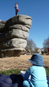 Leo checks out the problems on The Enormous Roofed Block in the guide to Fairlop Waters bouldering