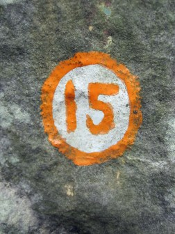 The painted mark showing the start of orange problem number 15 at Massif Canard, Buthiers.