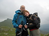 Me, Valerie and Leo on the summit of Craig Wen.