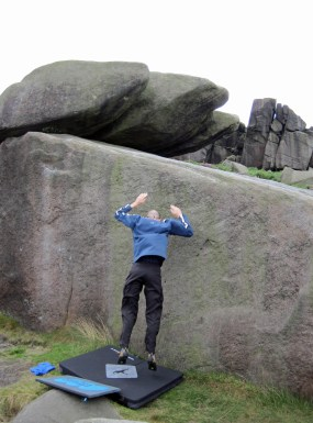Falling off the problem Wall Past Flake on The Tank boulder. After a few attempts, I did finish the problem.