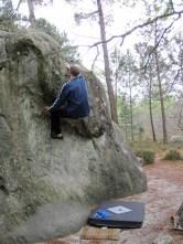 Me climbing problem number 2 at Le Cul de Chien, Fontainebleau.
