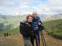 Leo, Valerie and Me on the descent from Snowdon.