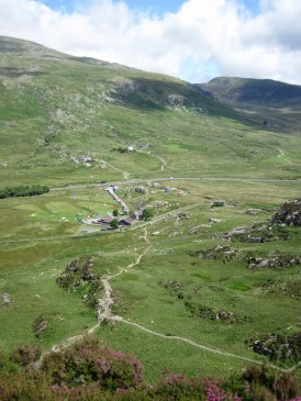 Gwern Gof Uchaf campsite and the Ogwen Valley seen from Tryfan Bach.