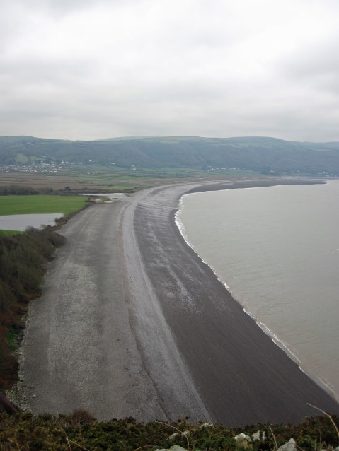 Bossington Beach seen from Hurlstone Point.