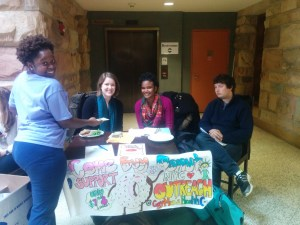 Students sell donuts in McClurg
