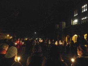 Students gather for the vigil