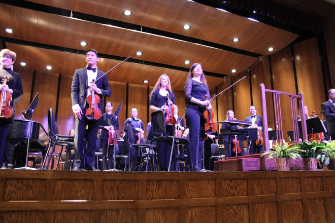 Members of Sewanee Symphony Orchestra onstage