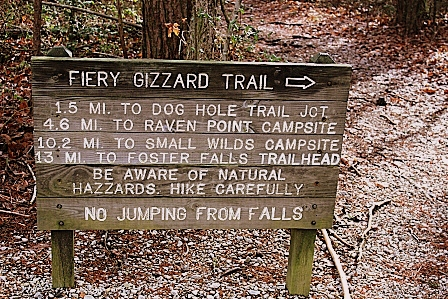 The sign that points the way to Fiery Gizzard