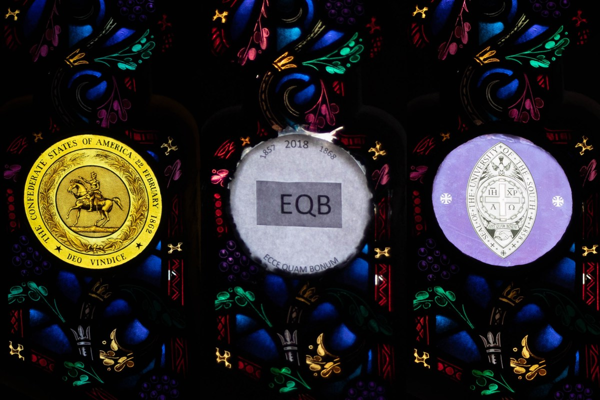 Sewanee community reacts to removal of Confederacy seal from window in All Saints' Chapel