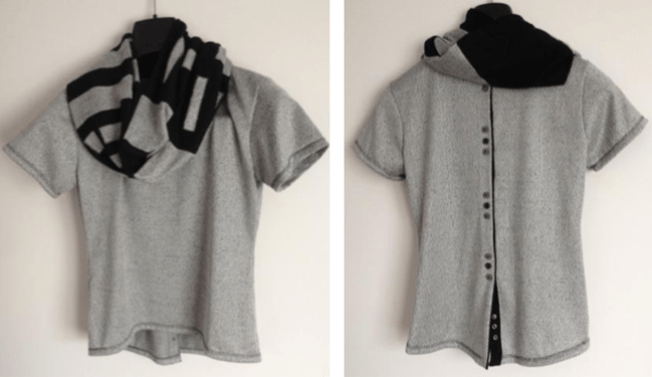 Refashion jogging trousers into back buttoned Top